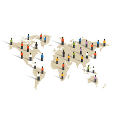 People spread across world map diversity around vector