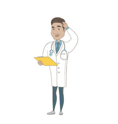 Young hispanic doctor scratching his head vector