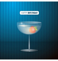Retro blue happy birthday background with drink vector