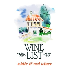 Wine list hand drawn sketch and watercolor vector