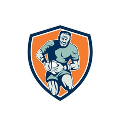 Rugby player running attacking shield retro vector