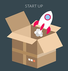 Startup concept of box and starting rocket vector