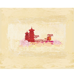 Old paper with chinese old building on abstract vector