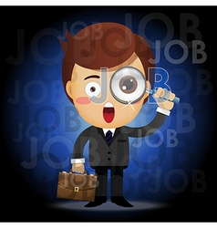 Man with magnifying glass searching for job vector