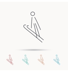 Ski jumping icon skis extreme sport sign vector