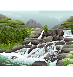 Mountain river with waterfalls in cloudy weather vector image