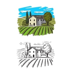 Village and landscape vector