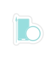 Paper sticker on white background mobile antivirus vector