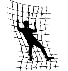 Boy in adventure park rope ladder vector