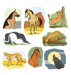 Set of wild and home animals hand drawn vector