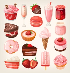 Strawberry desserts vector