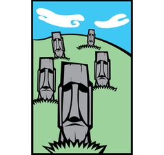 Group of moai vector
