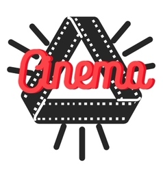 Color vintage cinema emblem vector
