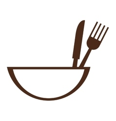 Bowl with eating utensils icon vector