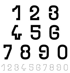 Black simple font numbers vector