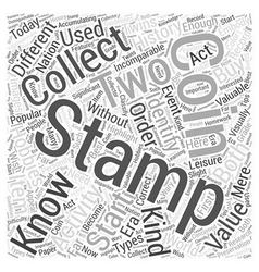 BWCC stamp coin collecting Word Cloud Concept vector image