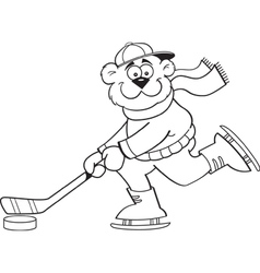 Cartoon bear playing hockey vector image vector image