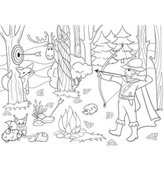 Children coloring arrow in the forest with vector