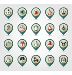 Christmas pin map icon holiday objects collection vector