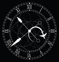 Clock old white on black vector