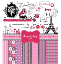 Doodle vintage objects - scrapbook collection vector image vector image