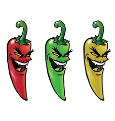 Evil hot chili peppers vector