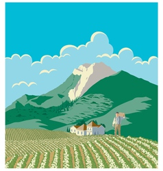 Farmer And His Field vector image