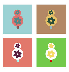 Flat icon design collection eco tree with cogwheel vector