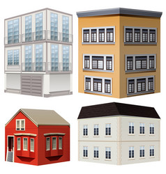 four styles of buildings vector image vector image