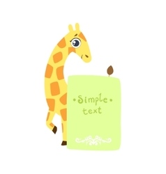 Giraffe With The Template For The Message vector image