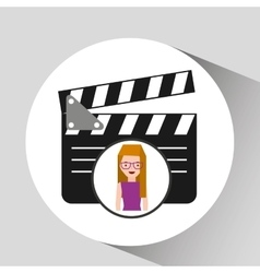 Girl cartoon and clapper icon cinema graphic vector