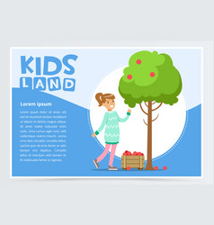 Girl picking apples in garden eco concept vector