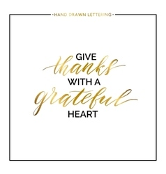 Give thanks gold lettering isolated on white vector image vector image