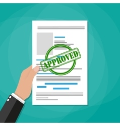 Hand holds approved paper document vector image vector image