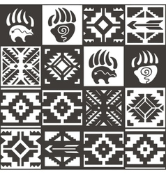 Navajo seamless monochrom tribal pattern vector