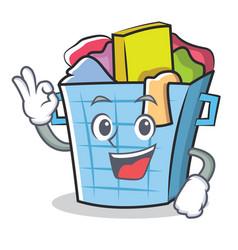 Okay laundry basket character cartoon vector