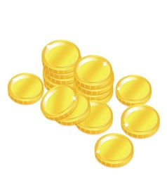 Popular gold coin penny stack isolated background vector