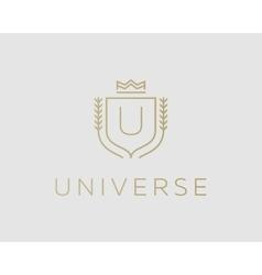 Premium monogram letter u initials ornate vector