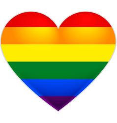 Rainbow flag gay LGBT flag heart vector image vector image