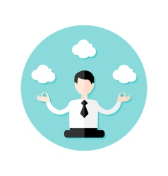 Relaxing business man circle flat icon vector