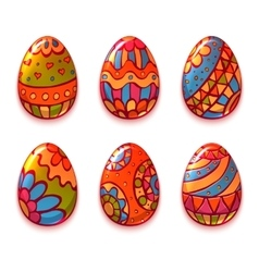 set of cartoon color eggs for Easter vector image