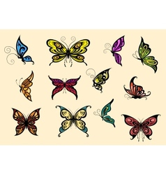 Set of colorful butterflyes vector image