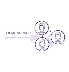 social network communication concept web banner vector image vector image
