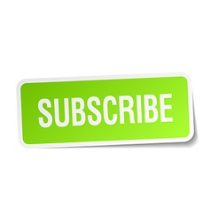 Subscribe green square sticker on white background vector
