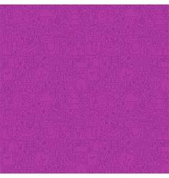 Thin Line Nature Garden Purple Seamless Pattern vector image vector image
