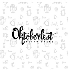 Beer fest oktoberfest on the seamless pattern of vector