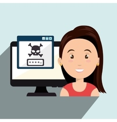 Woman pc virus design vector