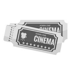 Movie ticket icon gray monochrome style vector