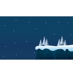 Winter christmas cliff landscape at night vector