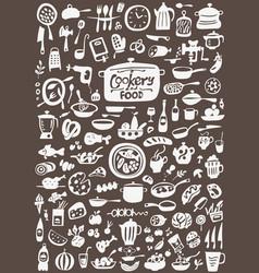 kitchen tools food - doodles set vector image